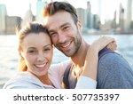 in love couple enjoying sunset... | Shutterstock . vector #507735397