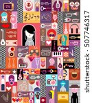 graphic art collage of many... | Shutterstock .eps vector #507746317