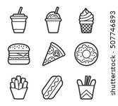 fast food vector contour icon... | Shutterstock .eps vector #507746893