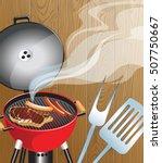 bbq background. vector... | Shutterstock .eps vector #507750667