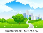 green landscape with tree road... | Shutterstock .eps vector #50775676