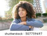 cheerful ethnic girl relaxing...   Shutterstock . vector #507759697