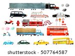 Big Set Of Watercolor Cars....