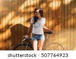 attractive hipster girl wearing ... | Shutterstock . vector #507764923