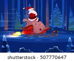 funny santa with presents on... | Shutterstock . vector #507770647