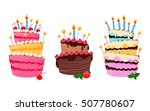 colorful sweet cakes isolated... | Shutterstock .eps vector #507780607