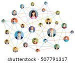Vector illustration of an abstract social network scheme, which contains people icons connected to each other. | Shutterstock vector #507791317