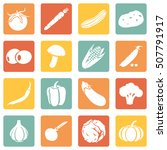 vector set of vegetables icons. ... | Shutterstock .eps vector #507791917