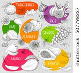 set of chalk sketch hand drawn  ... | Shutterstock .eps vector #507798337