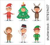 cute kids in christmas holiday... | Shutterstock .eps vector #507819637