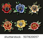 traditional tattoo roses set... | Shutterstock .eps vector #507820057