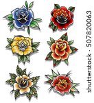 traditional tattoo roses set... | Shutterstock .eps vector #507820063