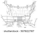 outline hydroelectric dam | Shutterstock . vector #507822787