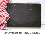 black wooden cutting board and... | Shutterstock . vector #507848383