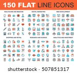 vector set of 150 flat line web ... | Shutterstock .eps vector #507851317