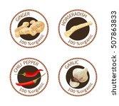 set of herbs labels. 100... | Shutterstock .eps vector #507863833