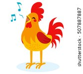 cute rooster singing isolated... | Shutterstock .eps vector #507887887