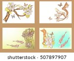 vector set koi  birds ... | Shutterstock .eps vector #507897907