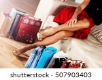 perfect shopaholic legs with... | Shutterstock . vector #507903403