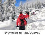 team of hikers walking on the... | Shutterstock . vector #507908983