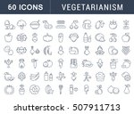 set vector line icons in flat... | Shutterstock .eps vector #507911713