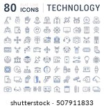 set vector line icons in flat... | Shutterstock .eps vector #507911833