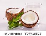 coconut cocktail on white... | Shutterstock . vector #507915823