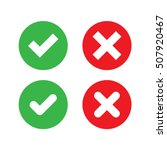 Green Check Mark And Red Cross...