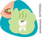 bad mouth breath. stinky green... | Shutterstock .eps vector #507929023