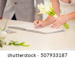 bride hand with a pen signing... | Shutterstock . vector #507933187
