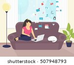 woman sitting with laptop on... | Shutterstock .eps vector #507948793