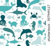 underwater seamless pattern... | Shutterstock .eps vector #507949117