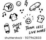 sketchy skater doodles black | Shutterstock .eps vector #507962833