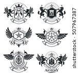 heraldic coat of arms  vintage... | Shutterstock .eps vector #507967387