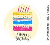 cute happy birthday card or... | Shutterstock .eps vector #507973687