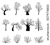 vector set of black silhouettes ... | Shutterstock .eps vector #507974803