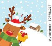 reindeer with gift   Shutterstock .eps vector #507981217