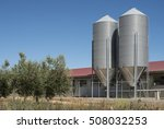 almond trees and factory | Shutterstock . vector #508032253