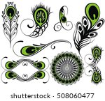 set for design with peacock...   Shutterstock .eps vector #508060477
