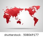world map. low poly design. red ... | Shutterstock .eps vector #508069177