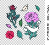 rose tattoo set. sticker  patch ... | Shutterstock .eps vector #508070227