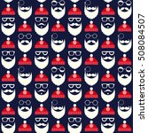 seamless pattern of faces with... | Shutterstock . vector #508084507