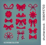 set of red cartoon style bow... | Shutterstock .eps vector #508095703