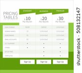 pricing comparison table set... | Shutterstock .eps vector #508132147