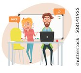 teamwork in the office man and... | Shutterstock .eps vector #508141933