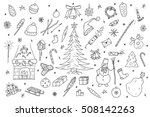 hand drawn christmas elements... | Shutterstock .eps vector #508142263