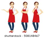 beautiful woman in red upron... | Shutterstock .eps vector #508148467