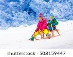 little girl and boy enjoy a... | Shutterstock . vector #508159447