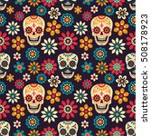 day of the dead. seamless... | Shutterstock .eps vector #508178923