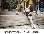 beautiful young casual woman... | Shutterstock . vector #508181083